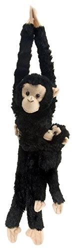 Wild Republic 15265 - Plüschtier - Hanging Monkey - Schimpanse, Mama mit Baby, 51 cm