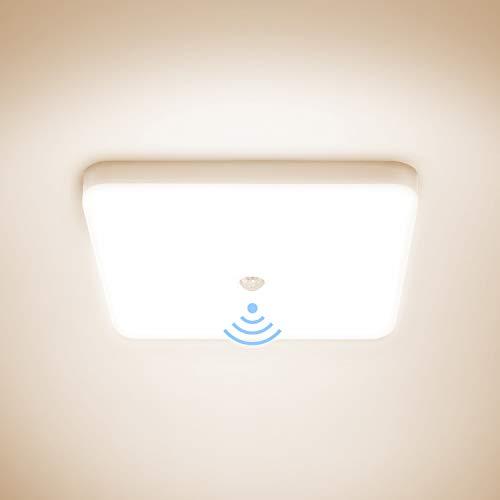 Combuh Lampada da Soffitto con Sensore di Movimento Impermeabile IP56 30W 2400Lm Bianco Naturale 4000K Rettangolo Plafoniera per Passerella, Bagno, Garage, Corridoi, Scale, Ripostiglio 25 * 25 * 4cm