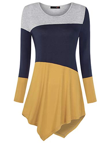 DJT Women's Color Block Long Sleeve T Shirts Tunic Tops XL Navy+Yellow