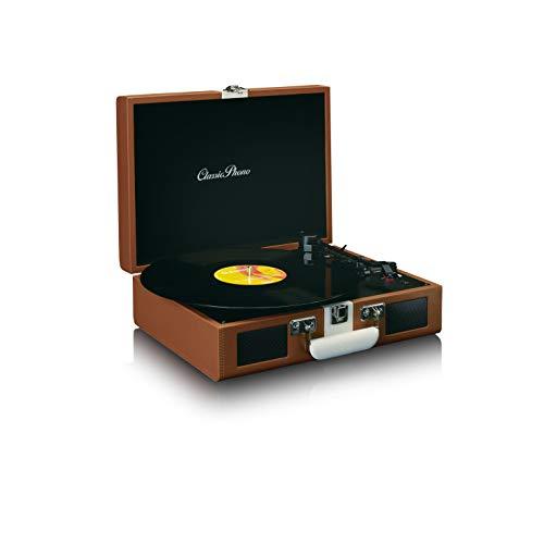 Classic Phono by Lenco TT-120 Plattenspieler - Kofferplattenspieler mit integriertem Akku - Bluetooth - 33, 45, 78 RPM - Riemenantrieb - 2 Lautsprecher - AUX-IN, RCA-Out, 3,5mm - Braun/Weiß