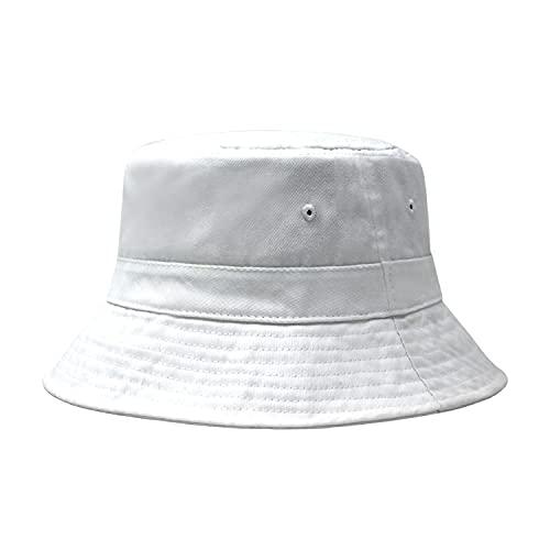 CHOK.LIDS Cotton Bucket Hats Unisex Wide Brim Outdoor Summer Cap Hiking Beach Sports (White)