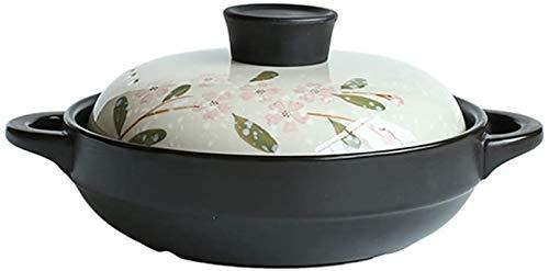 Casserole Casserole céramique traditionnelle non émaillée, cuir d'argile à cuisson lente, Notttick Stockpot Cookware Sauce Santé B 1L (Color : W, Size : 5.3Qt/5L)