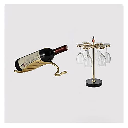 jinyi Estante de almacenamiento de vino, 1 botellero, 6 copas de vino, decoración de...