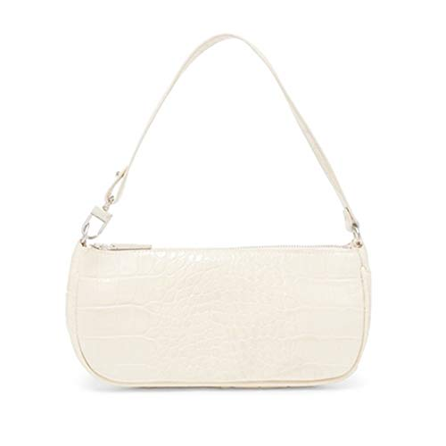 Barabum Retro Classic Crocodile Pattern Clutch Shoulder Bag with Zipper Closure for Women(White)