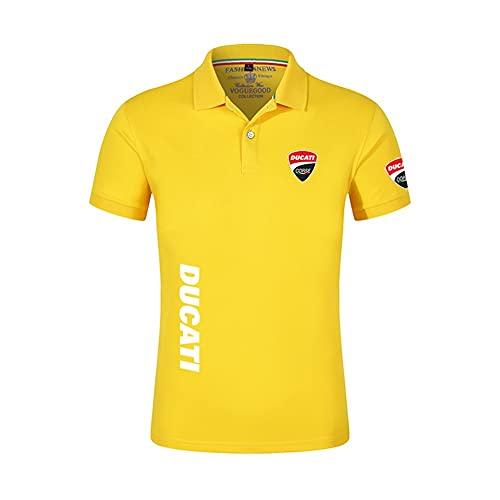 2021 Verano Ducati Coche Logo Nuevos Hombres T Shirts Casual Imprimir Algodón Polo Sólido Camisa Moda Masculina Manga Corta Alta Cantidad Camisetas (Color : 4, Tamaño : XXL)
