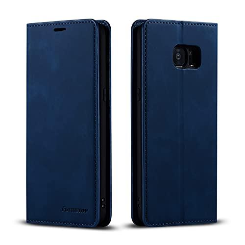 EYZUTAK Hülle für Samsung Galaxy S7, Magnetverschluss Premium PU Leder Flip Hülle mit Kartenfächern Brieftasche Standfuntion stoßfeste Silikonhülle Retro Ledertasche - Navy blau