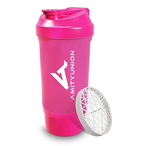 Protein Shaker Roze 700 ml FYRA lekvrij - BPA-vrij met poedervak en zeef en schaal voor romige BCAA-shakes, shaker proteïne shake cups, proteïne shaker voor isolaten en wei-eiwit