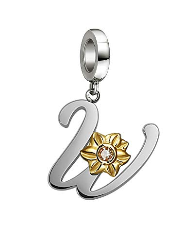 Shining Charm Initial Letter Charms W Beads with Sunflower Gifts | Charms for Charms Bracelet