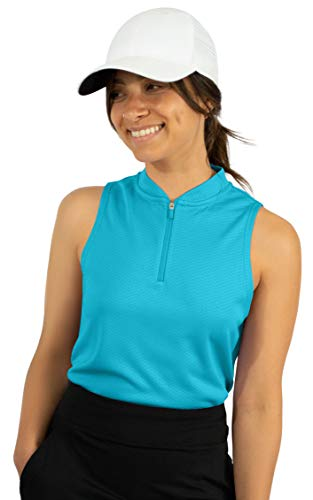 Three Sixty Six Womens Sleeveless Collarless Golf Polo Shirt with Zipper - Quick Dry Tank Tops for Women Algiers Blue