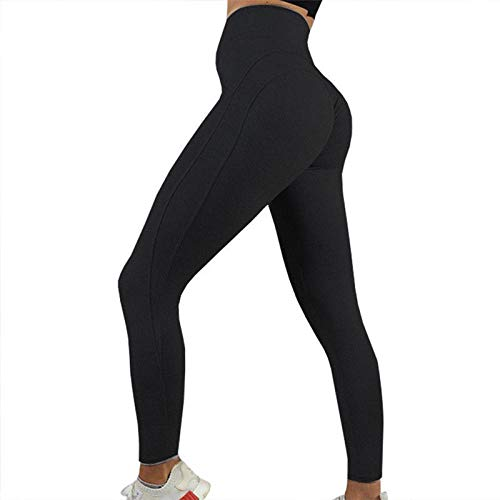 B/H Leggings Cintura Alta,Pantalones de Yoga de Caderas Fitness Leggings de Secado rápido-Negro_L,Leggings Mallas para Running Training Fitness