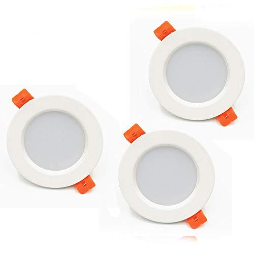 3x Ultra Piatto LED Faretto da Incasso per Bagno e Doccia - Lampada Bianco Caldo da Incasso per Controsoffitto in Cartongesso - rotondo, luce a LED, IP44, Dimmerabile, 5Watt, 230V, 450 Lumen