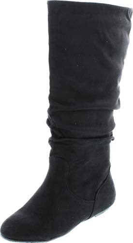 TOP Moda Data-1 Women's Shoes Cute & Comfort Round Toe Flat Heel Slouchy Mid Calf Boot,Black,10
