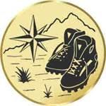S.B.J - Sportland Pokal/Medaille Emblem, Motiv Wandern, Durchmesser 50 mm, Gold