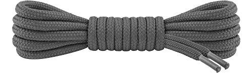 Ladeheid Qualitäts-Schnürsenkel LAKO1003, Elastische Rundsenkel für Arbeitsschuhe und Trekkingschuhe aus 100% Polyester, ø ca. 5 mm Breit, 25 Farben, 60-220 cm Länge (Grau, 90 cm/ø 5 mm)