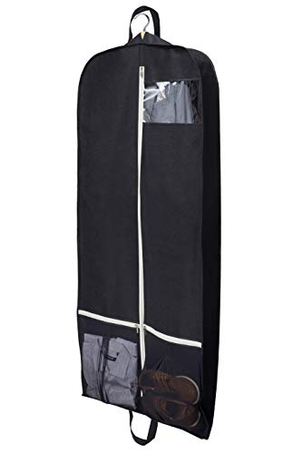 MISSLO 54' Suit Carriers for Men Long Dress Hanging Suit Bag Garment Covers for Clothes with 2 Large Mesh Pockets