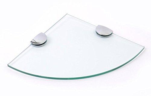 Estantería de esquina de cristal templado de 6 mm de espesor para baño, dormitorio, cocina con soportes cromados grandes