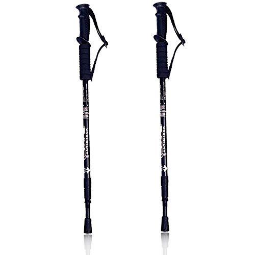 Generisch Bastoni da trekking per nordic walking, 2 pezzi, bastoncini da trekking, bastoncini da passeggio regolabili, 65 – 135 cm, di alta qualità, super leggeri, ammortizzati (nero)