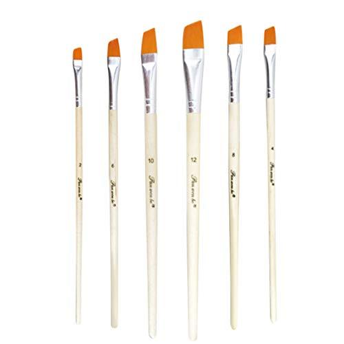 HEALLILY - 6 pinceles de acuarela de nailon para el cabello, para pintura acrílica, acuarela y pintura al óleo (pico diagonal)