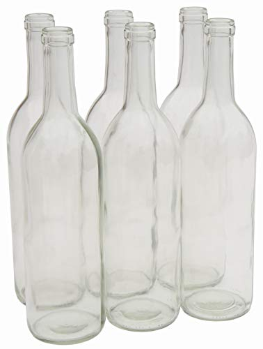 North Mountain Supply 750ml Glass Bordeaux Wine Bottle Flat-Bottomed Cork Finish - Case of 6 (W5 Clear/Flint)