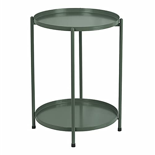 H JINHUI End Table, Round Metal Side Table with 2 Tiers, Indoor & Outdoor Anti-Rust and Waterproof Small Table, Living Room Drink Snack Coffee Tables with Removable Tray, Bedside Nightstand(Green)