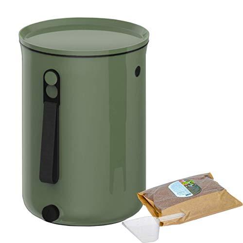 Skaza Bokashi Organko 2 (9.6 L) | Primé Composteur de Cuisine en Plastique Recyclé | Starter Set pour Les Déchets de Cuisine et Le Compostage | avec Activateur de Fermentation 1 kg (Olive)