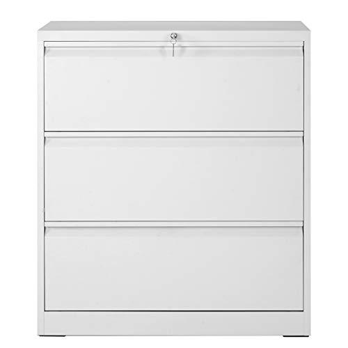 NOONE Seitlicher Aktenschrank Büroschrank Universal Ordner Schrank mit 3 Schubladen, Stahl, Abschließbar, Kippschutzsystem, Hohe Belastung, 90 x 45 x 103 cm, Weiß