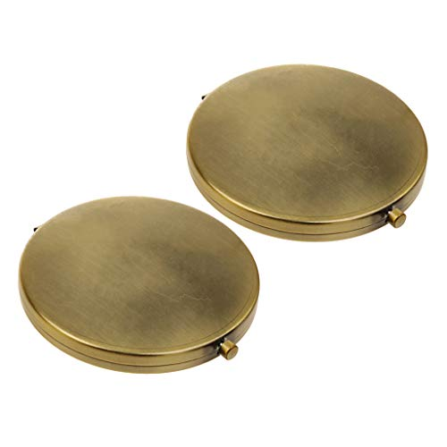 F Fityle 2X Retro Taschenspiegel/Handlicher Schminkspiegel/Reisespiegel - Make-up Spiegel (EIN Standard Spiegel und EIN Vergrößerungsspiegel)