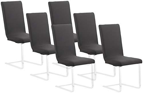 infactory Stuhlbezug: 6er-Set Stretch-Stuhlhusse mit Lehne, Oeko-TEX® Standard 100, schwarz (Stuhlüberzüge)