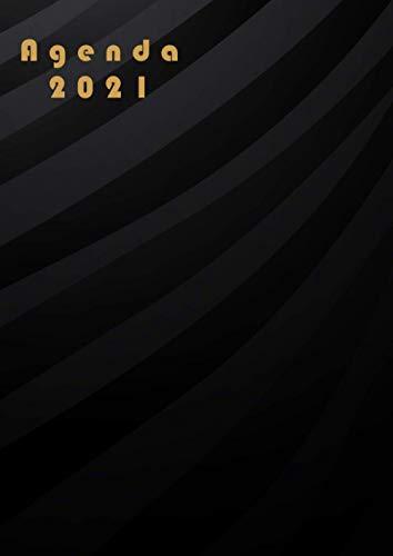 Agenda 2021: Planificador anual dia por pagina A4 español 365 dias-con Horas 04 :00-23 :00 /negra |12 meses enero a diciembre 2021 | XXL Planificadora diaria y mensual , Organizador Calendario 2021