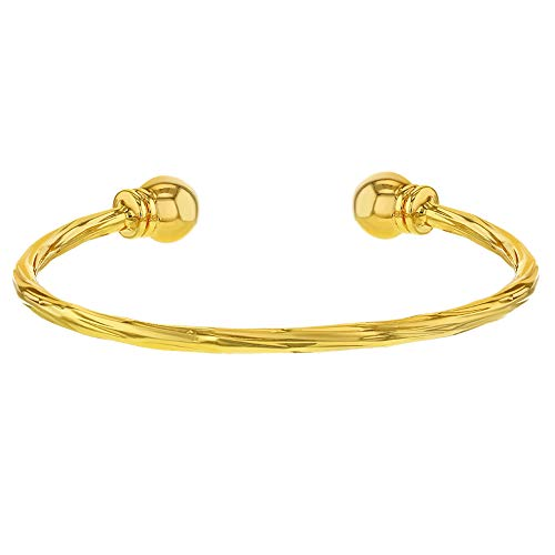 In Season Jewelry 18k Yellow Gold Plated Twisted Cable Cuff Newborn Baby Bracelet