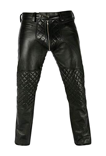 UGFashions Mens Double Zipper Biker Front & Back Panels Quilted Motorcycle Black Leather Pants, Large