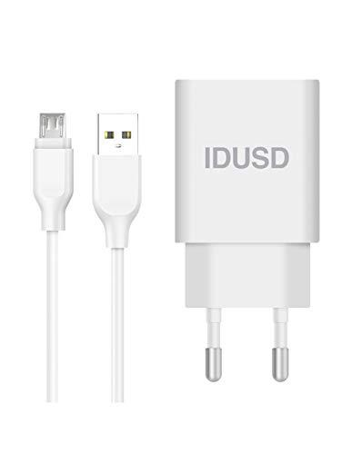 IDUSD Cargador Universal USB para Móvil 2.4A Color Blanco de Pared con Cable de Carga / Datos Mico USB Compatible con Modelos Samsung Galaxy S7 S6, Xiaomi Redmi 7 6, Huawei, Oppo, Vivo, Realme, LG
