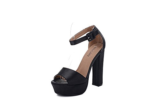 Mila Lady Lynn glamouröse Plateaupumps für Damen mit Fußgelenk-Riemen, Schwarz (schwarz), 40 EU