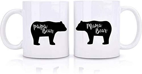 Yesland 2 Pack 11 oz Mama Bear Mug and Papa Bear Mug, Funny Couples Mug Coffee Mug Set for Parents, Boyfriend Girlfriend Husband and Wife for Mother's Day & Father's Day
