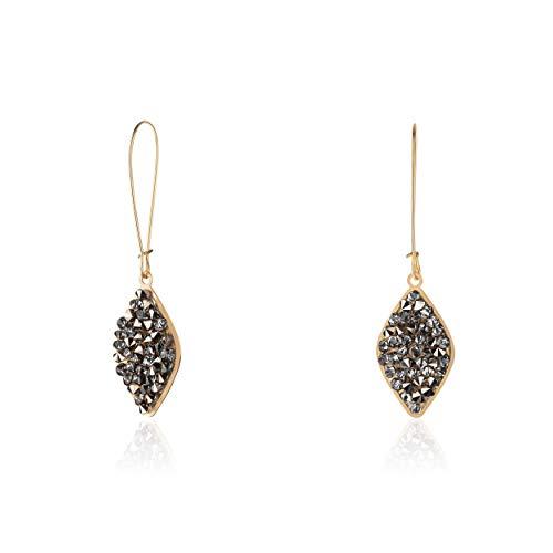 NIEVOS JEWELRY Pendientes largos chapados en oro de 24 quilates con forma de hoja y cristales de Swarovski grises, hechos a mano en Israel, clásicos atemporales de lujo para ella