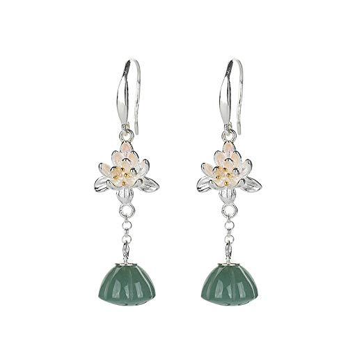 S925 / 925 Sterling Silver Gold-Plated Gemstone Crystal Earrings, High-End Elegant Ladies Jade Earrings, Perfect Holiday Gifts For Ladies, Low Strain And Nickel-Free Pendant Earrings C7405FC