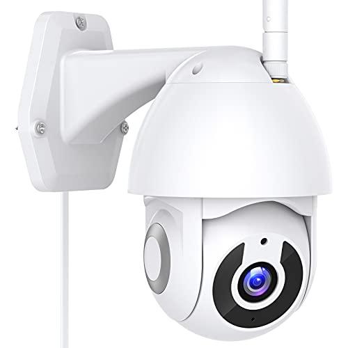 1296P Cámara de Vigilancia WiFi Interior / Exterior, Cámara de Vigilancia, Protección Completa de 360 °, Visión Nocturna, Audio Bidireccional, Compatible con Alexa, Alerta de Movimiento, Android/iOS