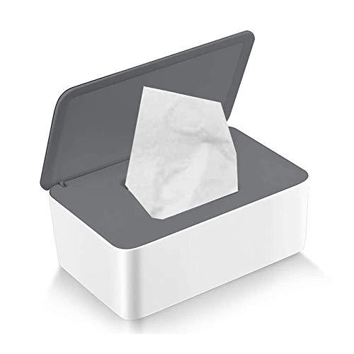 Deckel,Tücherbox Halter,Kunststoff Feuchttücher Spender,Aufbewahrungsbox für Feuchttücher mit Deckel,Feuchttücher Box Baby,Taschentuchhalter,Gewebe (Grey cover on white)
