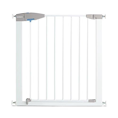 Lindam - Barrera de seguridad con puerta. Fijación a presión. Blanca. 76-82 cm