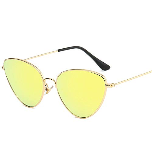 Gafas De Sol Gafas De Sol Triangulares con Estilo Gafas para Mujer Espejo Óptico Vintage Marco Fresco Metal Uv400 Polarizado-Oro_Amarillo_2