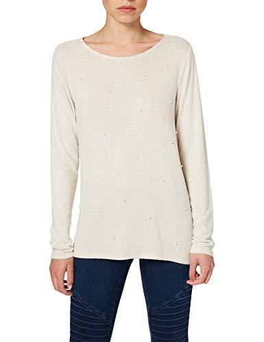 Springfield Camiseta Perlas T-Shirt, Beige/Camello, XL Donna