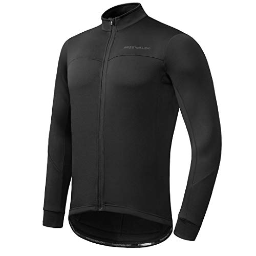 Przewalski Men's Cycling Bike Jersey Winter Thermal Long Sleeve Running Jacket with Full Zipper, Classic Series Black