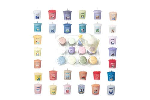 Yankee Candle Spring and Summer Votive Samplers Assortment of 12 in Yankee Candle Storage Container Gift Box with Bonus Organza Sachet Bag Bundle