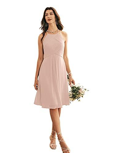 ALICEPUB Chiffon Bridesmaid Dresses Blush Halter Cocktail Dress Short Homecoming Party Dresses Plus Size, Pearl Pink, US18