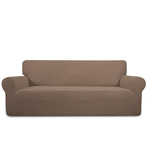 PureFit Stretch Sofa Slipcover - Spandex Jacquard Non Slip Soft Couch Sofa Cover, Washable Furniture Protector with Non Skid Foam and Elastic Bottom for Kids (Sofa, Camel)