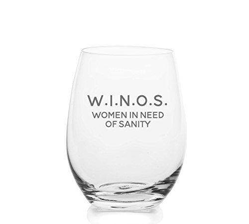 W.I.N.O.S. Vrouwen In Noodzaak Van Sanity – Leuke Grappige Stemless Wijnglas, Grote 11 Ounce Mate, Etched Sayings, Geschenkdoos