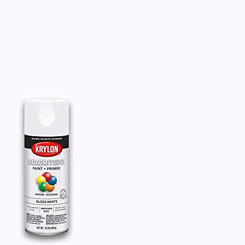 Krylon K05545007 COLORmaxx Spray Paint and Primer for Indoor/Outdoor Use, Gloss White