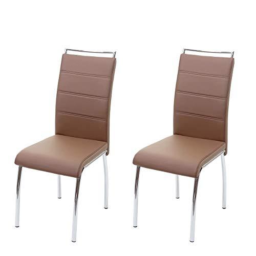 Mendler 2X Esszimmerstuhl HWC-F30, Stuhl Küchenstuhl, Kunstleder Chrom ~ braun