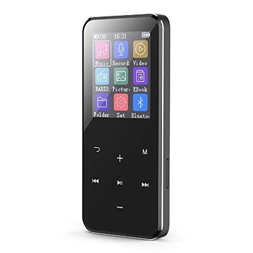 MP3 Player with Bluetooth 4.1, 16GB Music Player Portable Lossless Sound Bluetooth mp3 Player with FM Radio Voice Recorder Touch Button, Support up to 128GB (Headphone, Sport Armband Included)