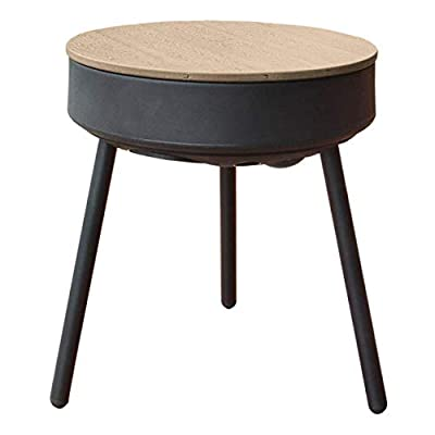 uuffoo Smart End Table with Bluetooth Speakers, Wireless Charger, LED Accent Lights, 360 Degree Indoor Outdoor Premium Sound Side Table, Brown
